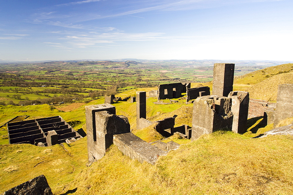Old quarry remains on Clee Hill in Shropshire, UK.