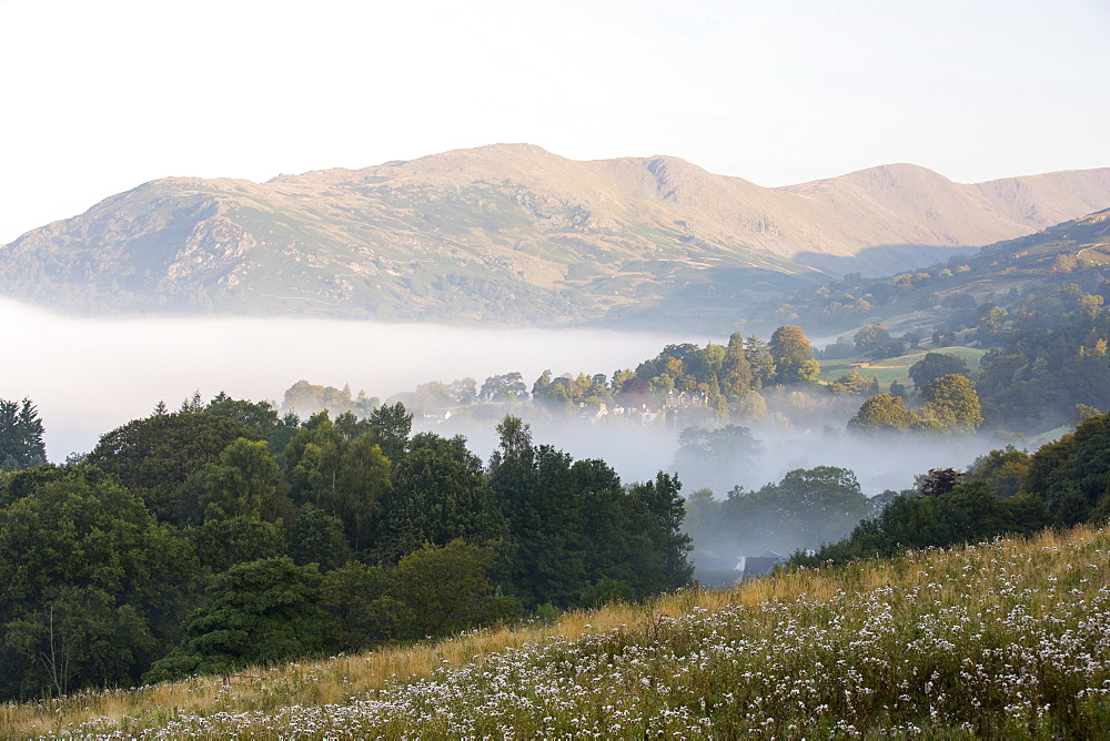 Autumn mists come early to the Lake District, a temperature inversion over Ambleside in the Lake District, taken from the slopes of Wansfell looking towards Fairfield. - 911-10880