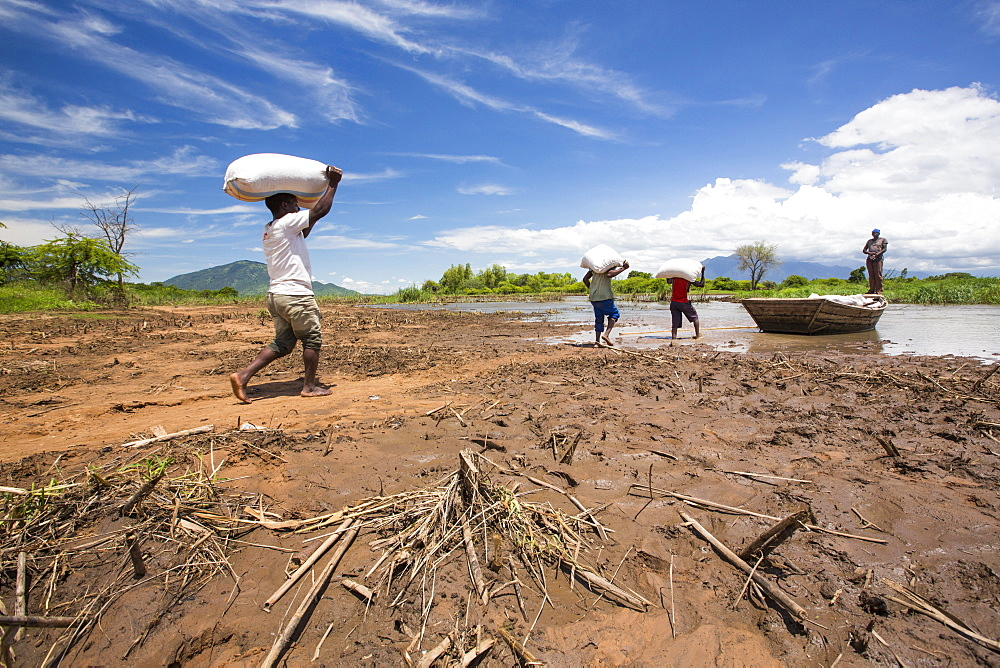 In mid January 2015, a three day period of excessive rain brought unprecedneted floods to the small poor African country of Malawi. It displaced nearly quarter of a million people, devastated 64,000 hectares of alnd, and killed several hundred people. This shot shows a food being ferried across a river near Phalombe after the bridge was washed away.
