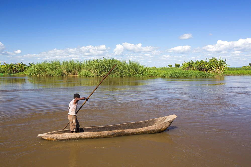 A dug out canoe on the Shire River, in Nsanje, Malawi.