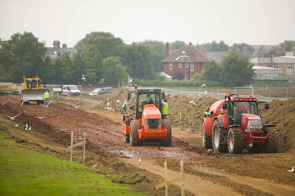 Construction of new flood defences in Carlisle after the disastrous floods there, Cumbria, England, United Kingdom, Europe