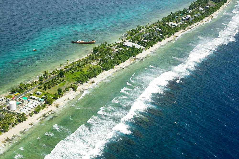 Funafuti Atoll from the air threatened by global warming induced sea level rise, Tuvalu, Pacific