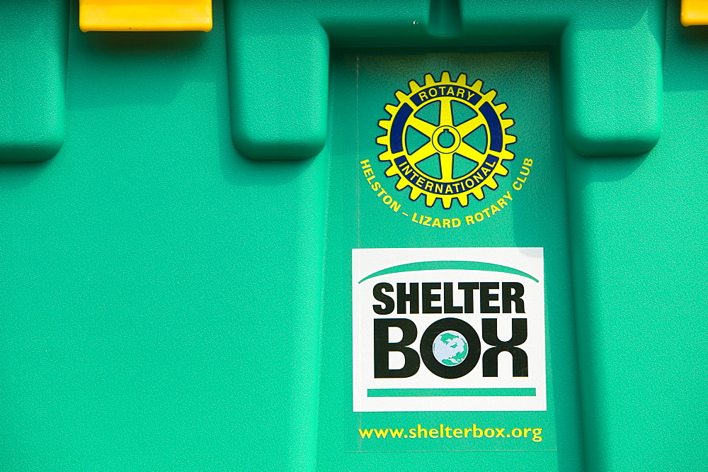 A shelter box for humanitarian aid, Eden Project, Cornwall, England, United Kingdom, Europe