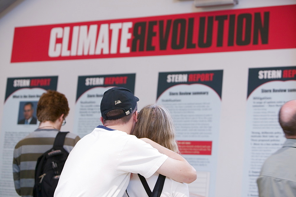 A display about the Stern Report into climate change at the Eden Project, Cornwall, England, United Kingdom, Europe