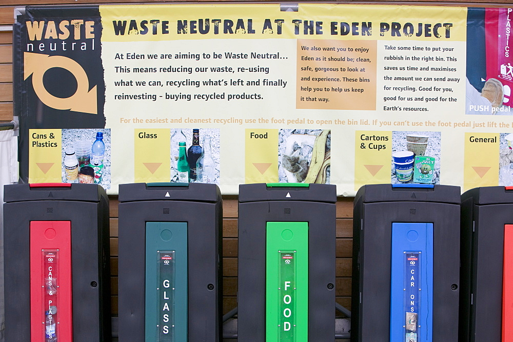 Waste recycling bins at the waste-neutral Eden Project, Cornwall, England, United Kingdom, Europe