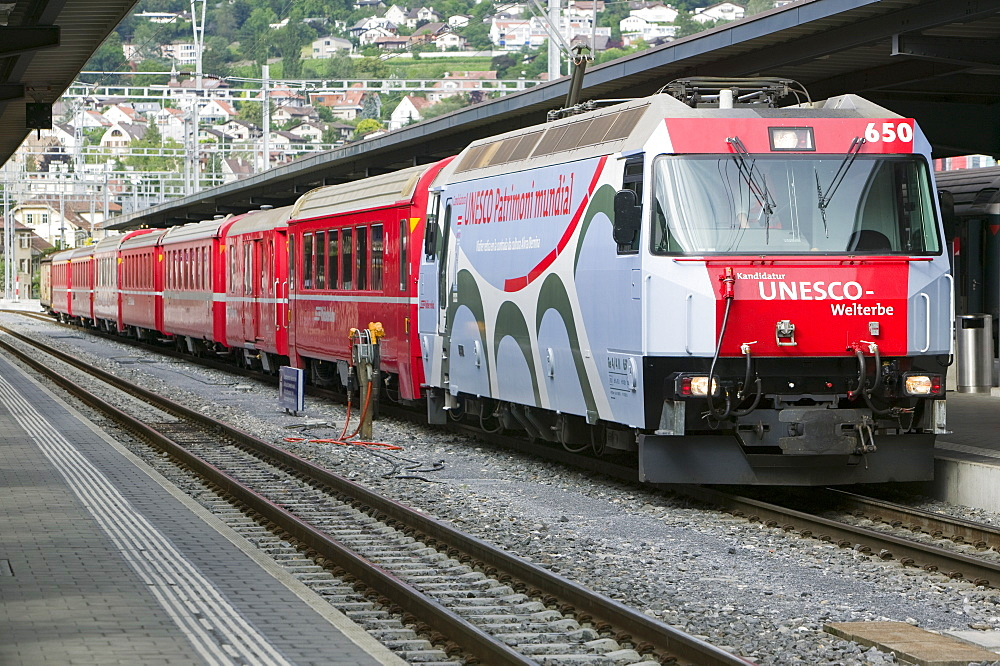 The Bernina Glacier express that goes from Chur in Switzerland to Tirano in Italy, Europe
