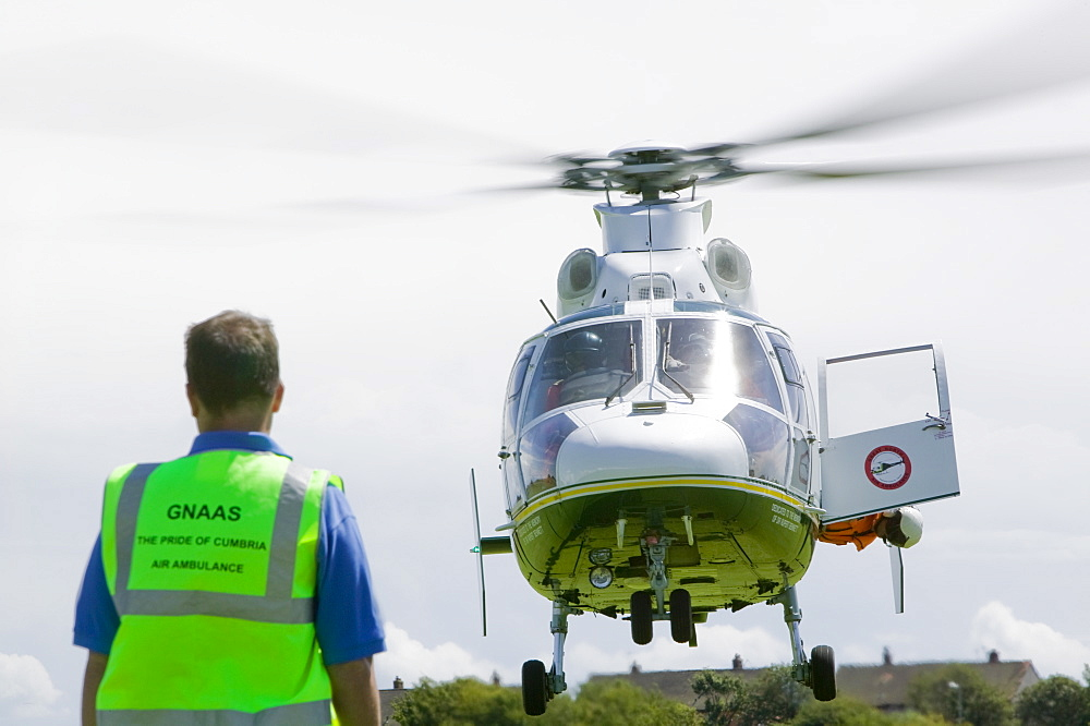An air ambulance, Cumbria, England, United Kingdom, Europe
