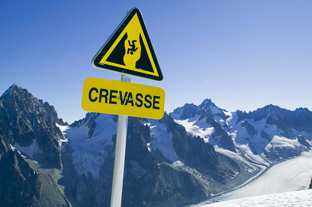 A warning sign above the rapidly melting Mer Du Glace, Chamonix, Haute Savoie, France, Europe