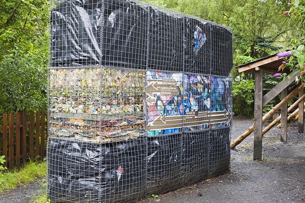 Rubbish thrown out by an average household in one year at the Centre for Alternative Technology in Machylleth, Wales, United Kingdom, Europe