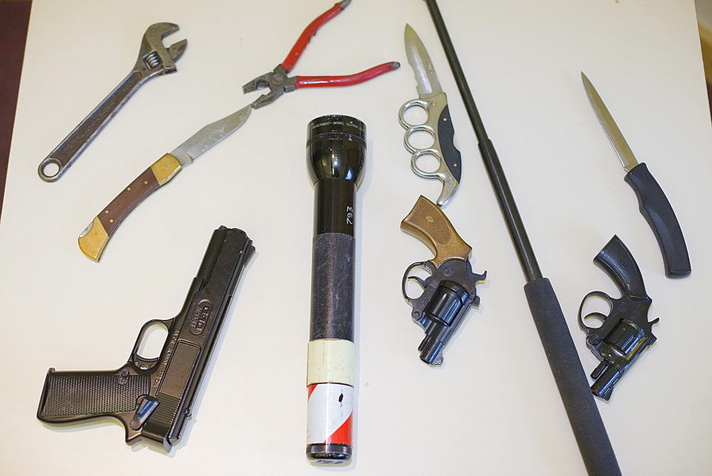 Illegal weapons seized by Cumbria Police, Cumbria, England, United Kingdom, Europe