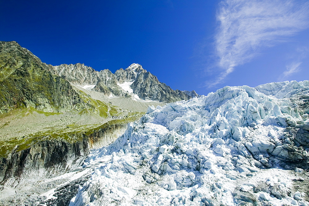 Melting seracs on the snout of the Argentiere Glacier, like most Alpine glaciers it is retreating rapidly due to global warming, Chamonix, Haute Savoie, France, Europe