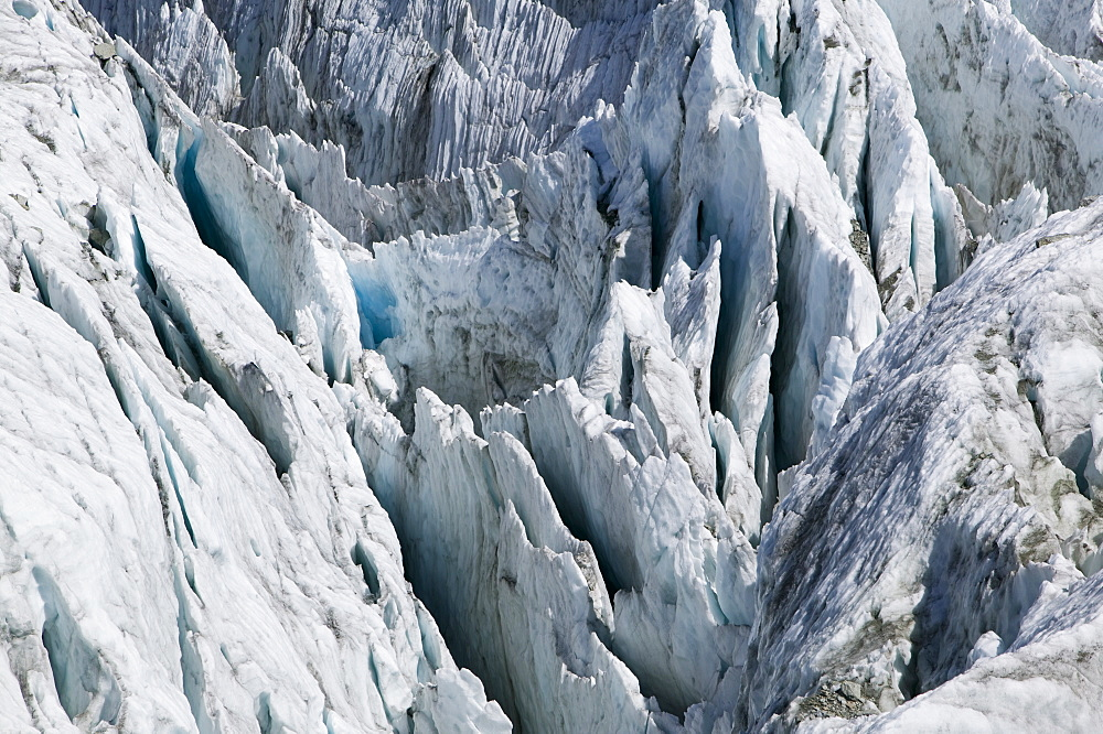 The Argentiere Glacier, like most Alpine glaciers it is retreating rapidly due to global warming, Chamonix, Haute Savoie, France, Europe