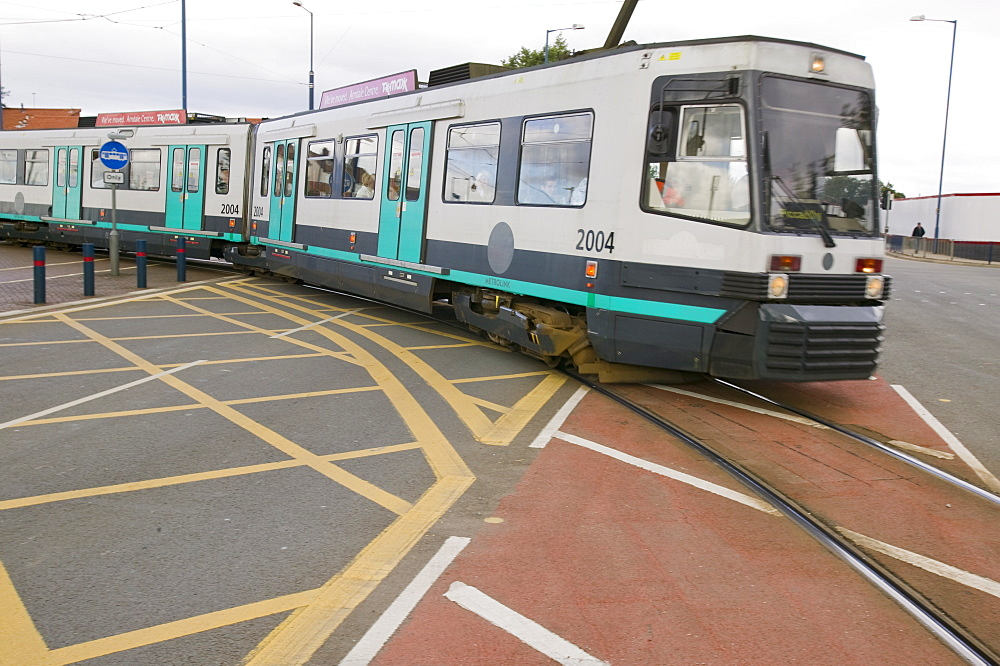 A tram in Salford, Manchester, England, United Kingdom, Europe
