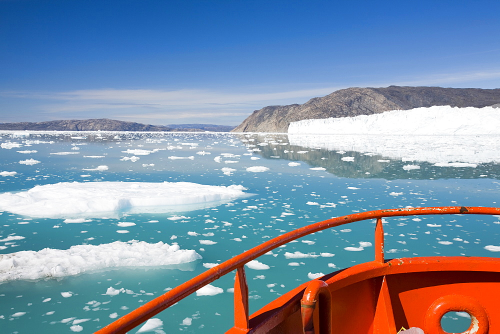 A boat at Camp Victor by the Eqip Sermia glacier that is receeding rapidly due to global warming on the west coast of Greenland, Polar Regions - 911-15