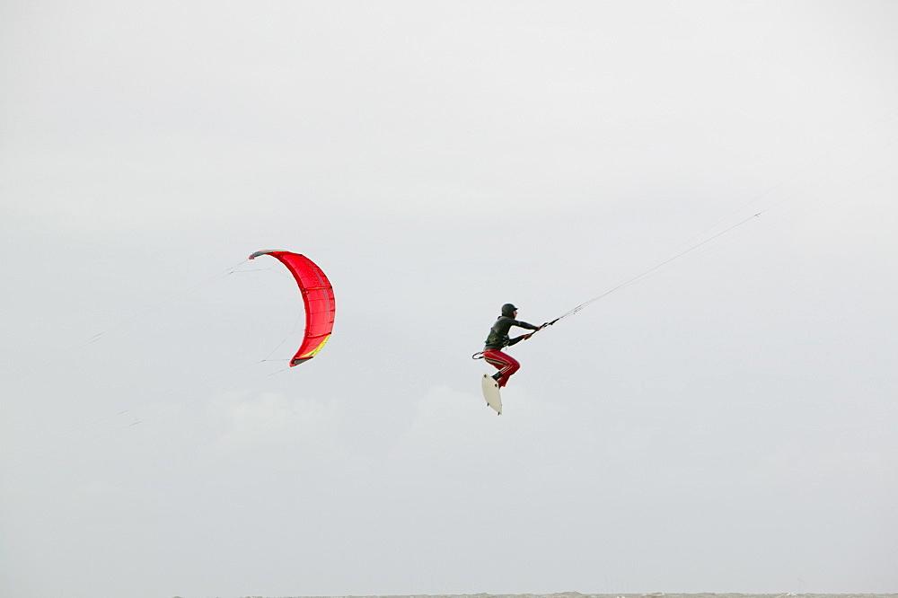 Kite surfers off Blackpool, Lancashire, United Kingdom, Europe