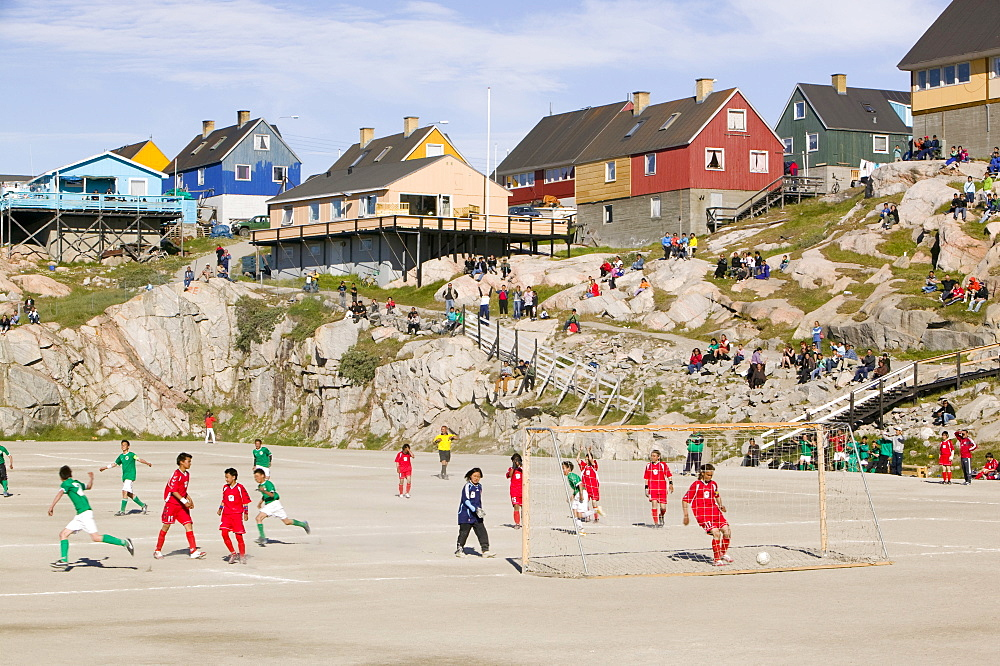 A football match in Ilulissat, Greenland, Polar Regions - 911-181