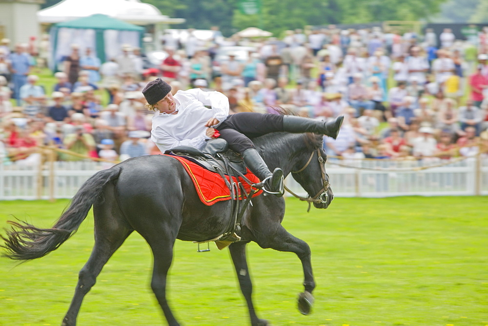 Cossack horse rider at the Holker countryside Festival in Cumbria, England, United Kingdom, Europe