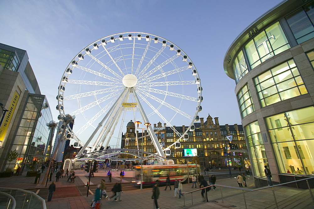 A ferris wheel in Manchester city centre, England, United Kingdom, Europe