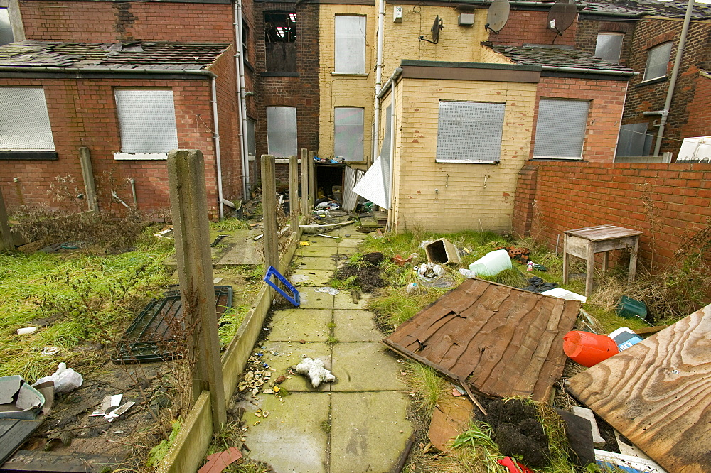 Derelict houses in Manchester, England, United Kingdom, Europe