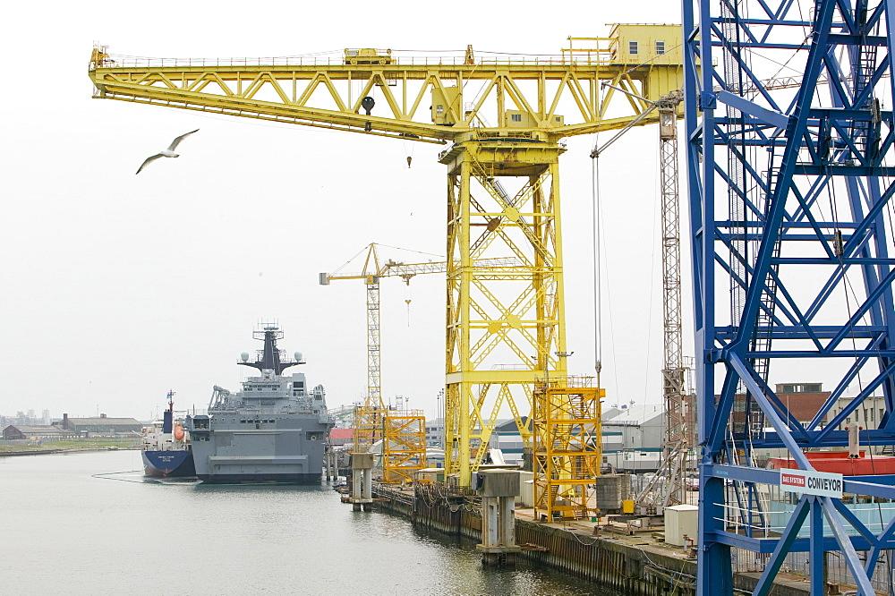 Barrow Docks and the shipyard, Lancashire, England, United Kingdom, Europe