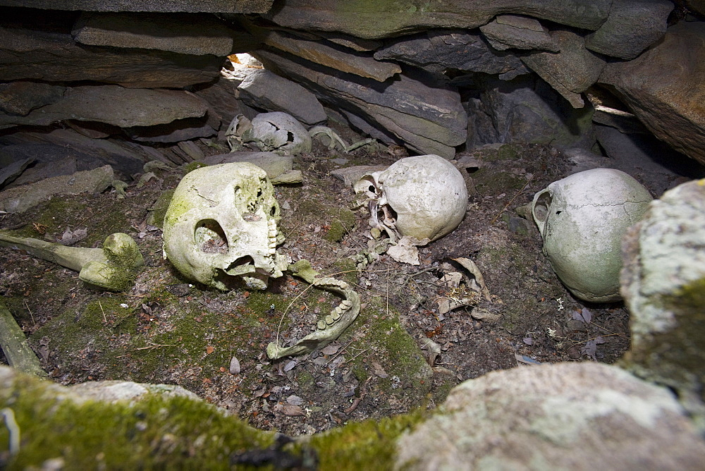 A human Inuit skull in a stone chambered cairn, an ancient grave at least 2000 years old, in Ilulissat in Greenland, Polar Regions