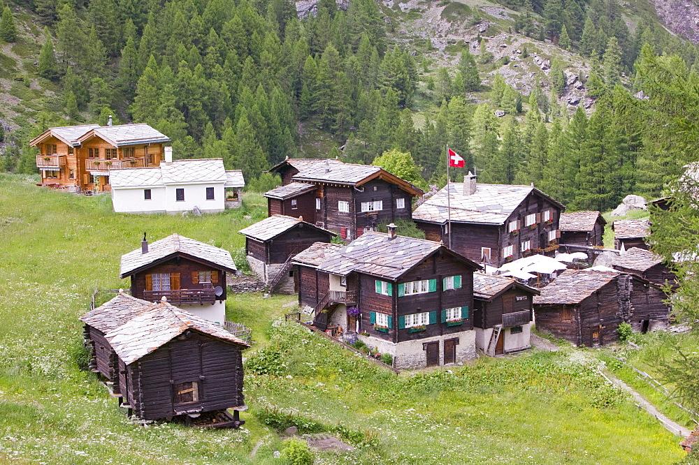 Old wooden houses in Blatten above Zermatt, Switzerland, Europe