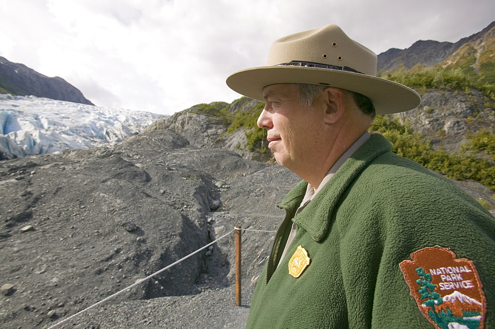 A park ranger at the Exit Glacier that has retreated rapidly due to global warming, Kenai Fjords National Park, Alaska, United States of America, North America