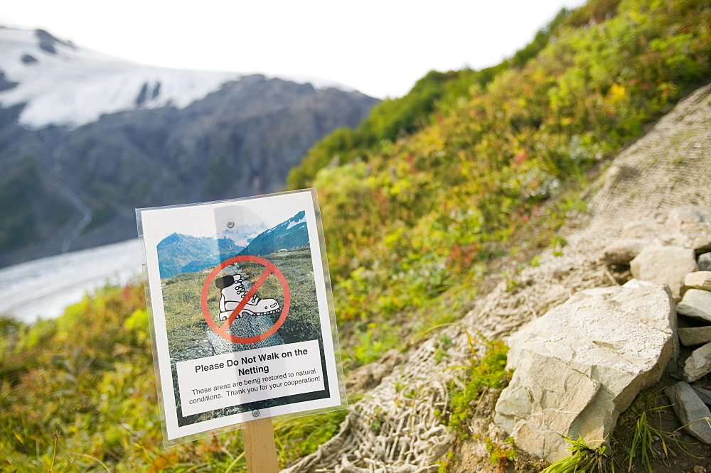 A footpath erosion sign near Exit Glacier in the Kenai Fjords National Park in Alaska, United States of America, North America