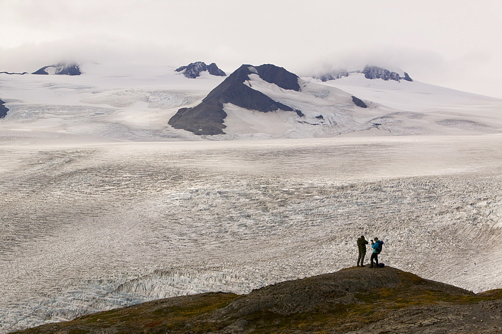 Exit Glacier looking towards the Harding icefield which are both receding rapidly due to global warming, Kenai Fjords National Park, Alaska, United States of America, North America