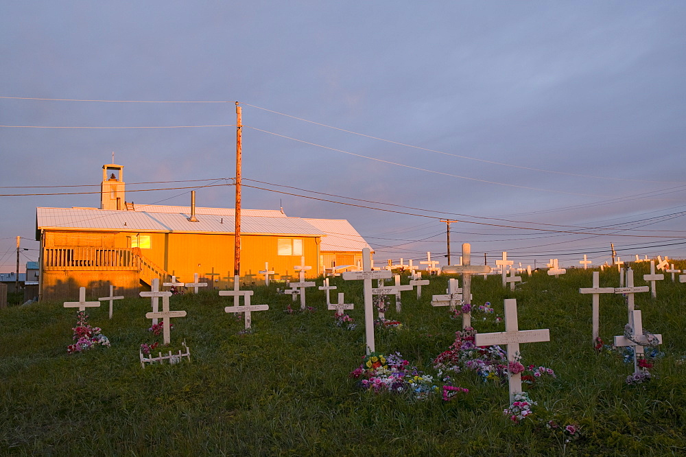 The cemetery on Shishmaref, a tiny island inhabited by around 600 Inuits, between Alaska and Siberia in the Chukchi Sea, United States of America, North America
