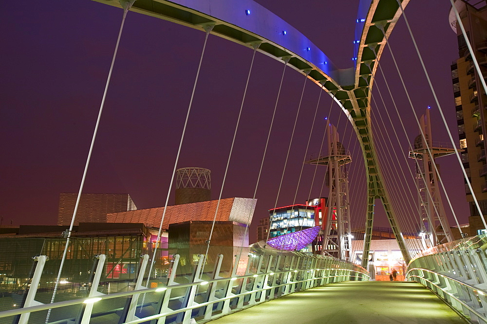 The Lowry Centre and Millenium Bridge in Salford Quays, Manchester, England, United Kingdom, Europe