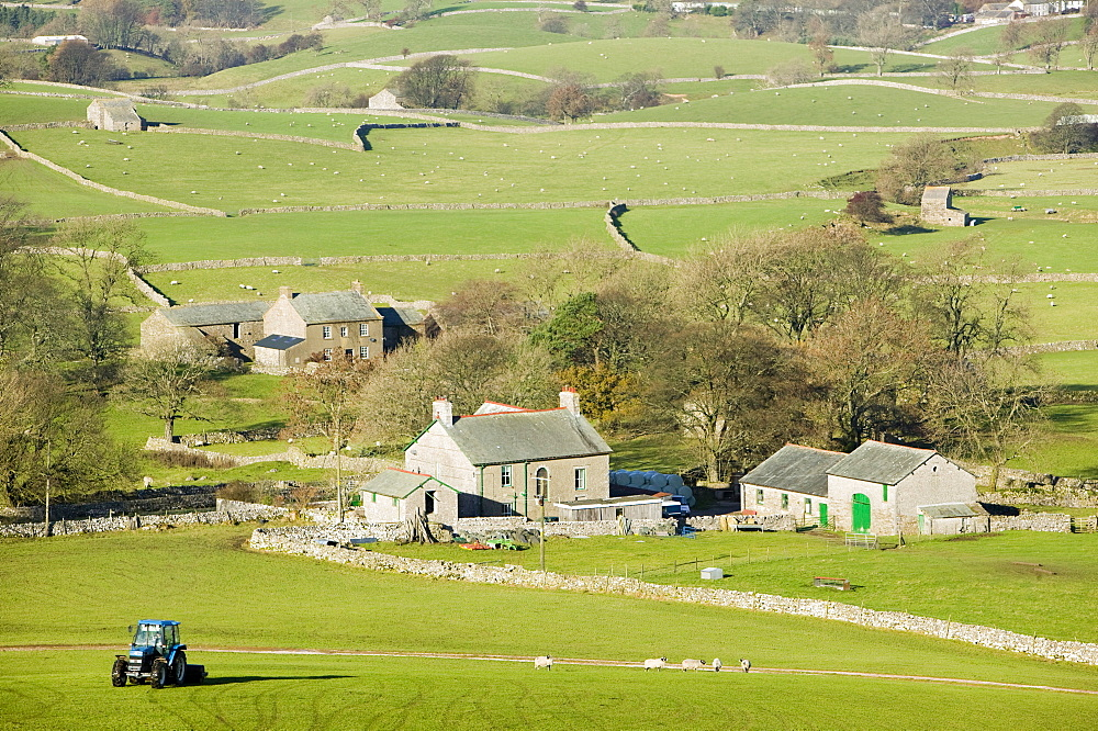 Farm houses below Wild Boar Fell in the north Pennines, England, United Kingdom, Europe