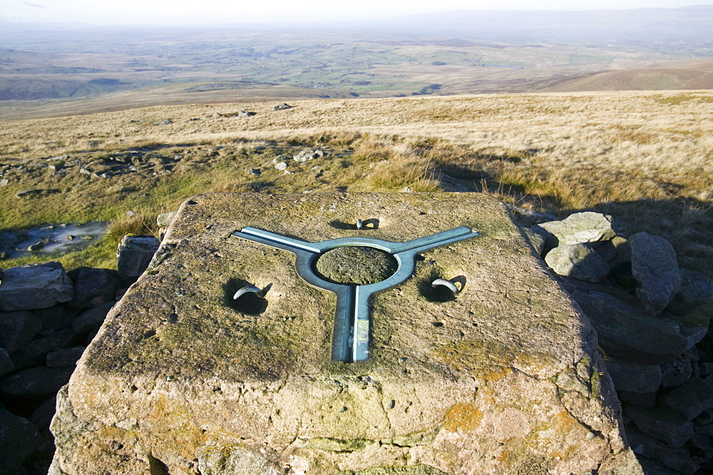 Trig point on Wild Boar Fell in the north Pennines, England, United Kingdom, Europe