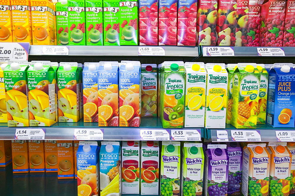 Fruit juice in a Tesco supermarket in Carlisle, Cumbria, England, United Kingdom, Europe