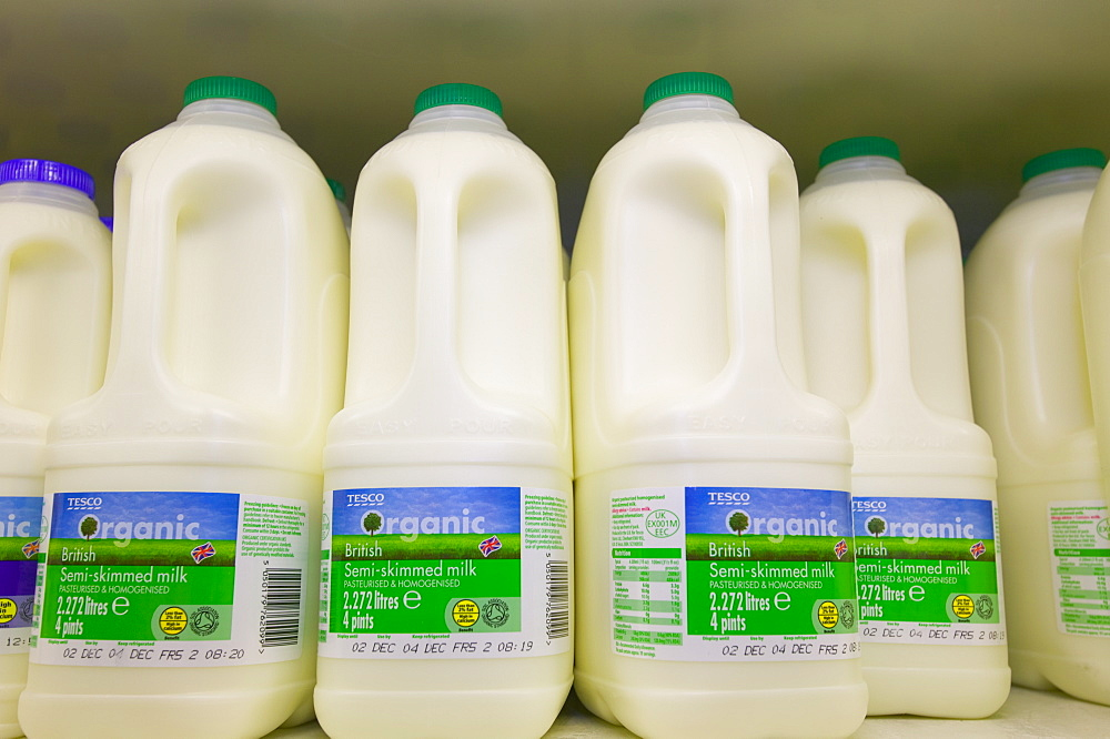 Organic milk in a Tesco supermarket in Carlisle, Cumbria, England, United Kingdom, Europe