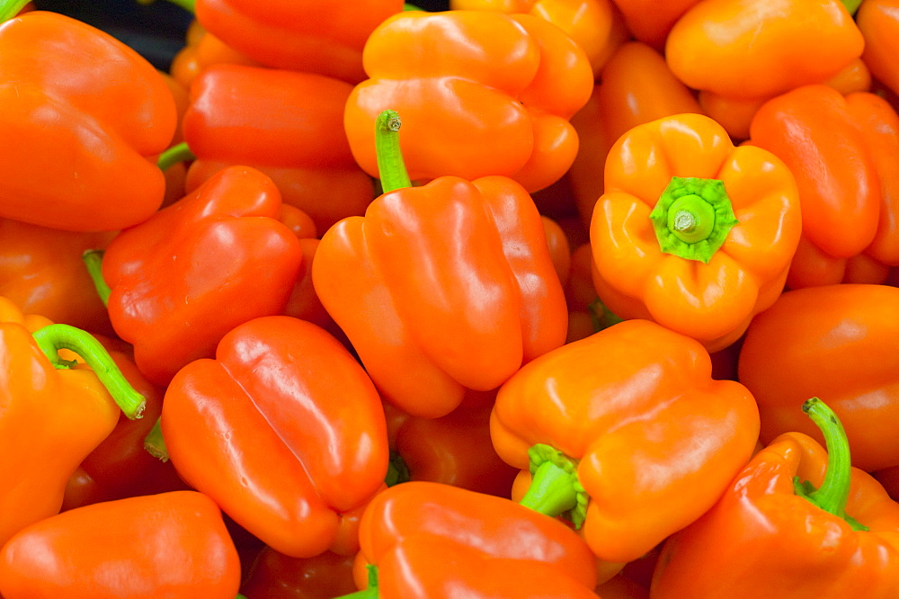 Orange peppers in a Tesco supermarket in Carlisle, Cumbria, England, United Kingdom, Europe