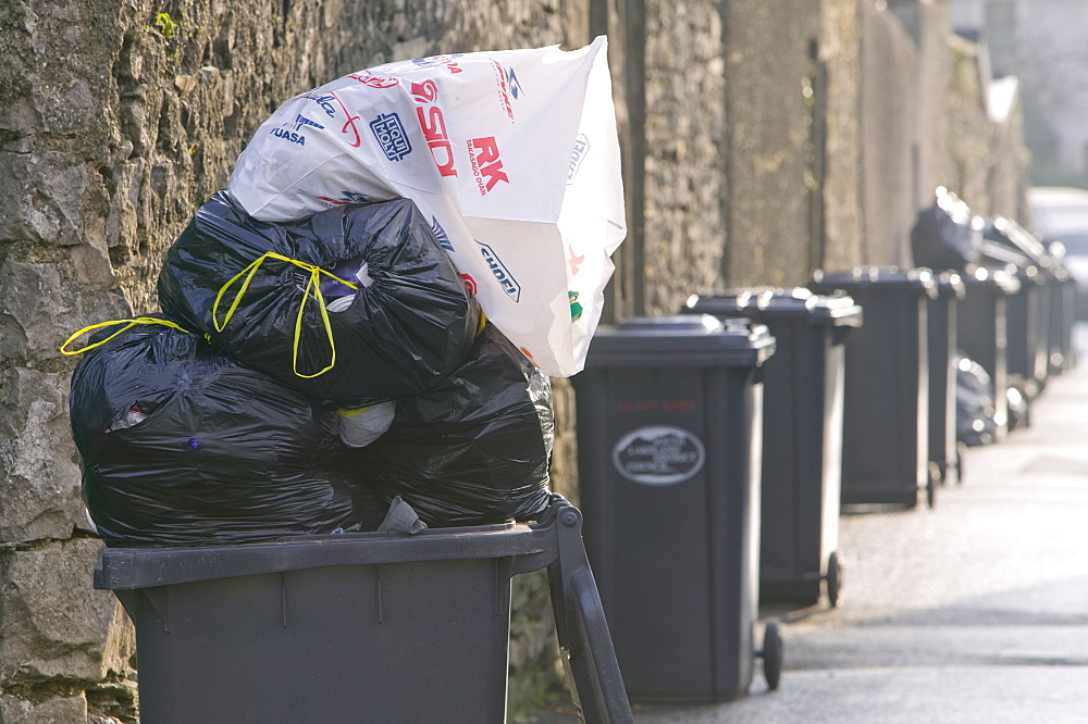 Dustbins in Ulverston, Cumbria, England, United Kingdom, Europe