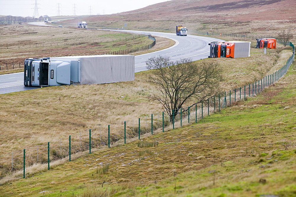 Lorries blown over on the M6 motorway near Shap in January 2005 when a severe storm hit Cumbria, England, United Kingdom, Europe - 911-2703