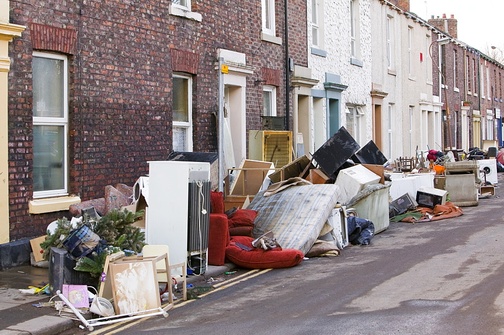 In January 2005 a severe storm hit Cumbria that created havoc on the roads and toppled over one million trees, contents of flooded homes, Carlisle, Cumbria, England, United Kingdom, Europe