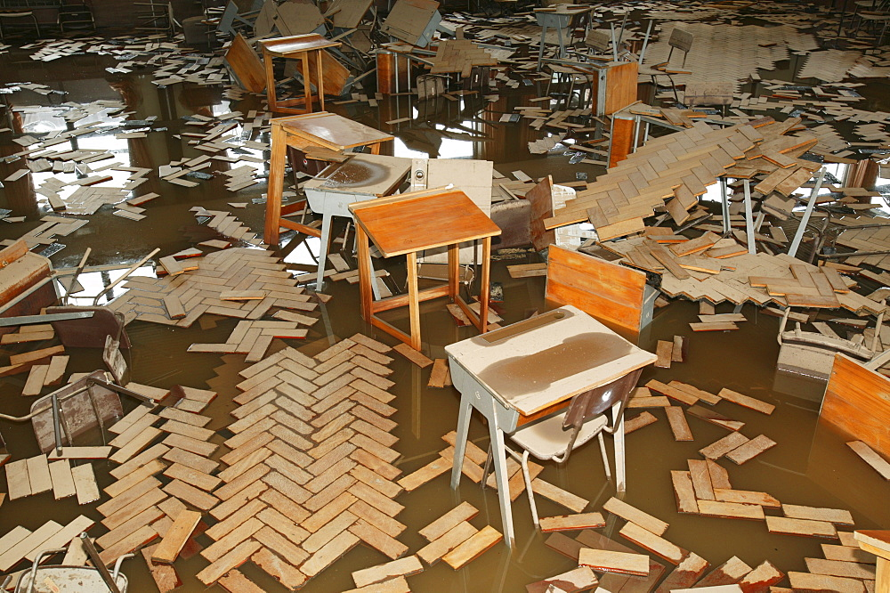 Damage to a school in Carlisle caused by storms and flooding in January 2005, Cumbria, England, United Kingdom, Europe
