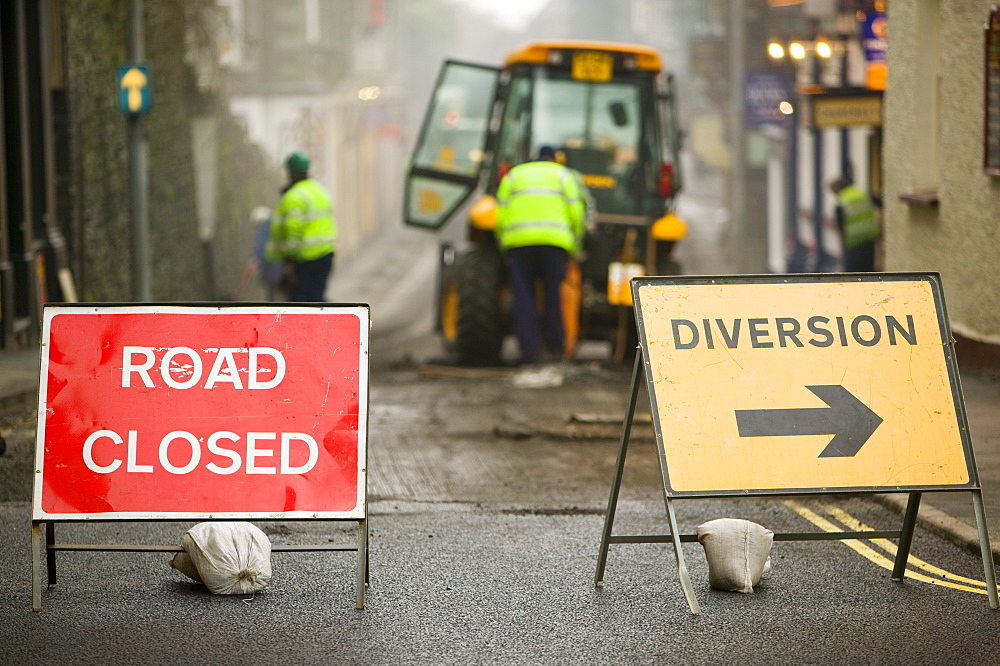 Road closed in Ambleside for resurfacing, Cumbria, England, United Kingdom, Europe