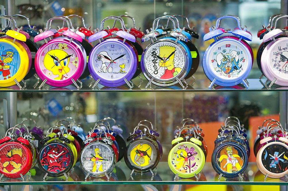 Alarm clocks in a shop in Andorra, Europe