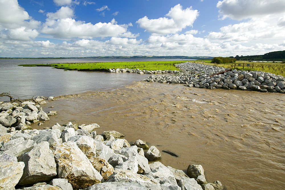 The Breach at Alkborough created in the sea defences to allow sea water to flood agricultural land and create a wetland for wildlife, Humber Estuary, Humberside, England, United Kingdom, Europe