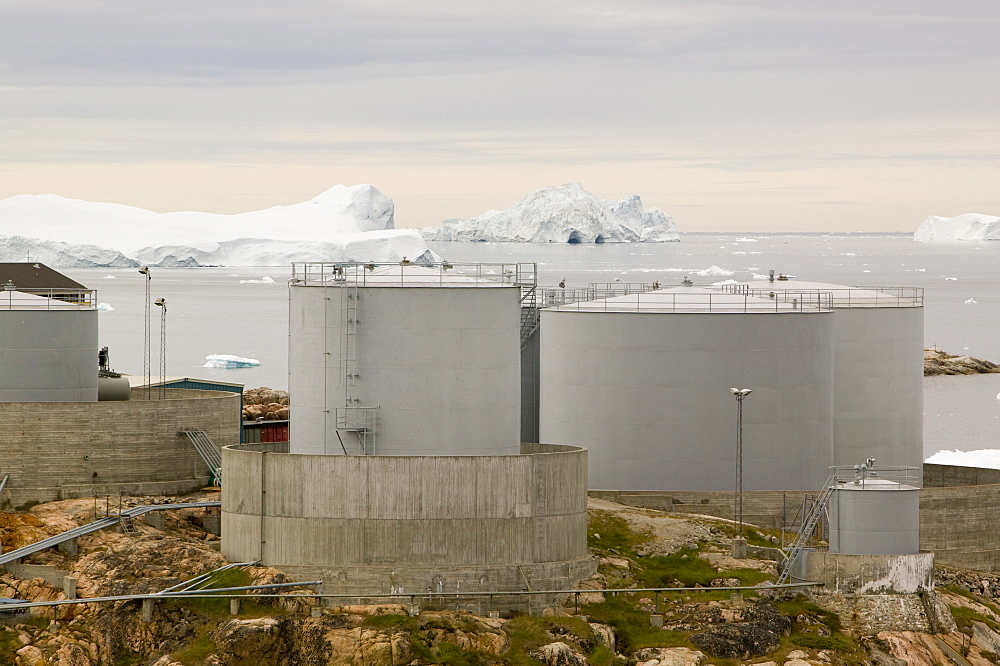 Oil storage depot in Ilulissat on Greenland, Polar Regions