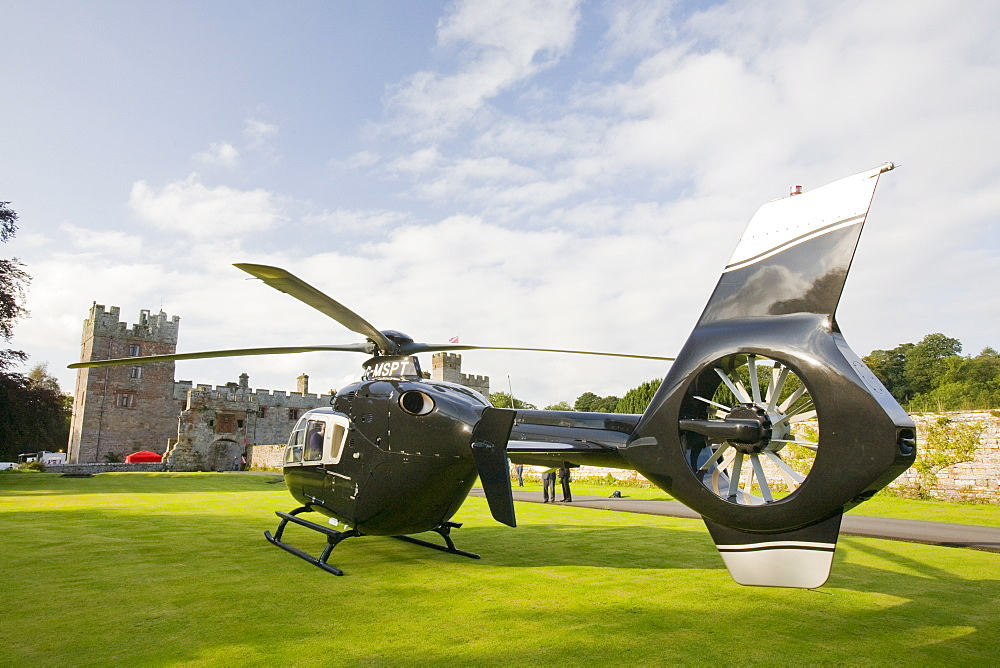 A private helicopter at Narworth Castle in North Cumbria, England, United Kingdom, Europe