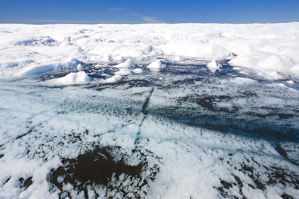 Melt water on the Greenland ice sheet near Camp Victor north of Ilulissat, Greenland, Polar Regions