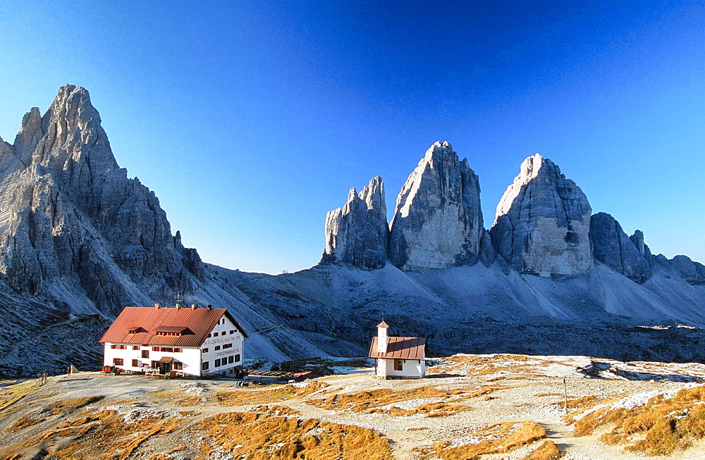 A mountain hut or refuge overlooking the Tre Cime in The Italian Dolomites, Italy, Europe