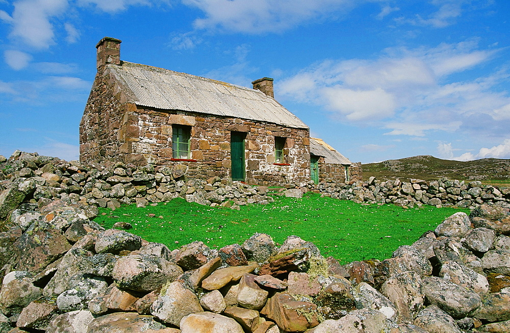 An old crofters house at Rubha Coigach in Assynt, Sutherland, North West Scotland, United Kingdom, Europe