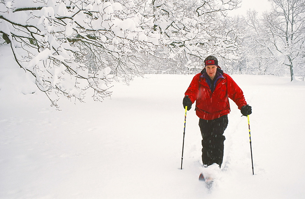 A man cross country skiing in the Lake District, Cumbria, England, United Kingdom, Europe