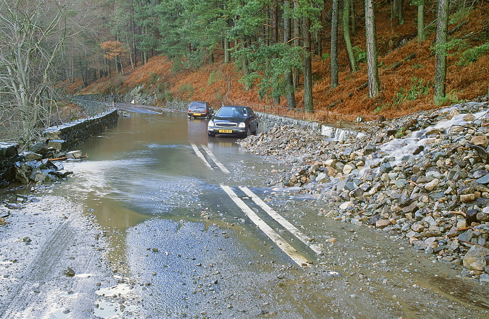 The A591 blocked by flood debris at Thirlmere in the Lake District, Cumbria, England, United Kingdom, Europe